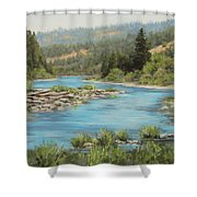 Tyee Morning Shower Curtain by Karen Ilari