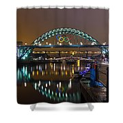 Tyne Bridge At Night Shower Curtain