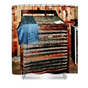 Type Case With Denim Apron Shower Curtain