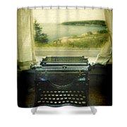 Typewriter By Window Shower Curtain