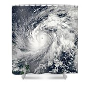 Typhoon Sanba Over The Pacific Ocean Shower Curtain