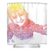 Typography Portrait Childhood Wonder Shower Curtain by Nikki Marie Smith