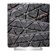 Tyres Stacked With Focus Depth Shower Curtain