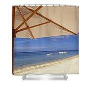 Umbrella And Tropical Beach, Close Up Shower Curtain