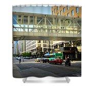Under The Skywalk - Street Lamp Shower Curtain