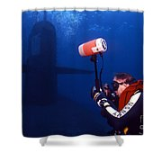 Underwater Photographer Takes Photos Shower Curtain by Michael Wood