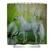 Unicorn And Lilies Shower Curtain