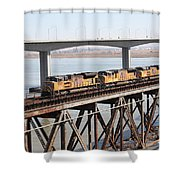 Union Pacific Locomotive Trains Riding Atop The Old Benicia-martinez Train Bridge . 5d18851 Shower Curtain