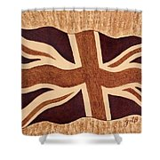 United Kingdom Flag Coffee Painting Shower Curtain