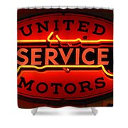 United Motors Service Neon Sign Shower Curtain