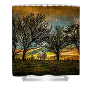Up On The Sussex Downs In Autumn Shower Curtain