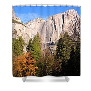 Upper Yosemite Falls In Autumn Shower Curtain