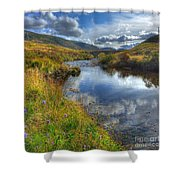 Upstream To The Bridge Shower Curtain by John Kelly