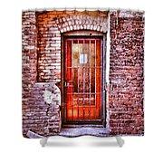 Urban Door In Old Brick Building Shower Curtain