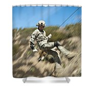 U.s. Air Force Airman Practices Shower Curtain