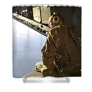 U.s. Air Force Commander Sits Harnessed Shower Curtain