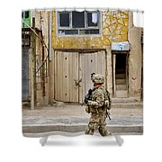 U.s. Air Force Senior Airman Patrols Shower Curtain