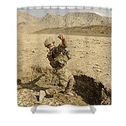 U.s. Air Force Soldier Throws A Frag Shower Curtain