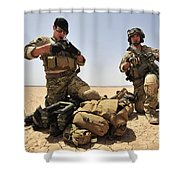 U.s. Air Force Soldiers Gather Shower Curtain