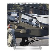 U.s. Army Ah-64d Apache Helicopter Shower Curtain