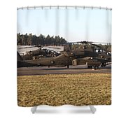 U.s. Army Ah-64d Apache Helicopters Shower Curtain