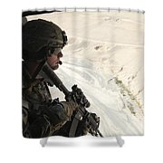 U.s. Army Captain Looks Out The Door Shower Curtain