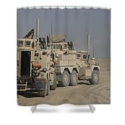 U.s. Army Cougar Mrap Vehicles Shower Curtain