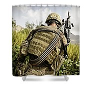 U.s. Army Mk48 Machine Gunner Patrols Shower Curtain