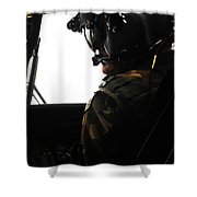 U.s. Army Officer Speaks To A Pilot Shower Curtain