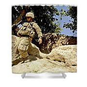 U.s. Army Soldier Climbs Down A Hill Shower Curtain