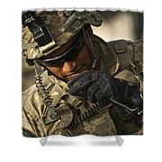 U.s. Army Soldier Communicates Shower Curtain