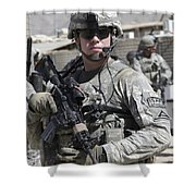 U.s. Army Soldier Conducts A Combat Shower Curtain