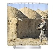 U.s. Army Soldier Conducts A Dismounted Shower Curtain