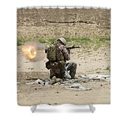 U.s. Army Soldier Fires Shower Curtain