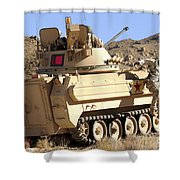 U.s. Army Soldier Jumps Off An M113 Shower Curtain