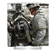 U.s. Army Soldier Loads A 105mm Shower Curtain