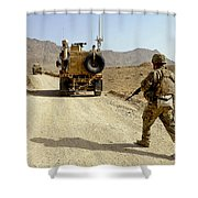 U.s. Army Soldier Moves To His Mrap Shower Curtain