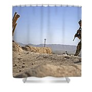 U.s. Army Soldier On A Foot Patrol Shower Curtain