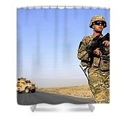 U.s. Army Soldier On Patrol Shower Curtain