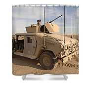 U.s. Army Soldier Pulls Security On Top Shower Curtain