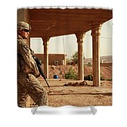 U.s. Army Soldier Pulls Security Shower Curtain