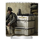 U.s. Army Soldier Relaxing Before Going Shower Curtain