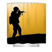 U.s. Army Soldier Secures An Area Shower Curtain