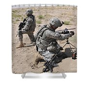 U.s. Army Soldier Sets Up A Satellite Shower Curtain