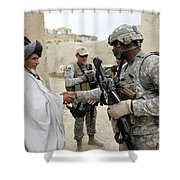 U.s. Army Soldier Shakes Hands With An Shower Curtain