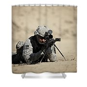 U.s. Army Soldier Sights In A Barrett Shower Curtain