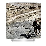 U.s. Army Soldiers And Afghan Border Shower Curtain