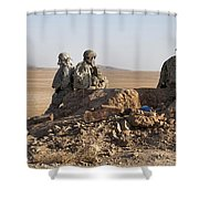 U.s. Army Soldiers At A Checkpoint Shower Curtain