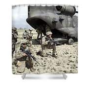 U.s. Army Soldiers Board A Ch-47 Shower Curtain