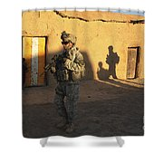 U.s. Army Soldiers Conduct A Dismounted Shower Curtain
